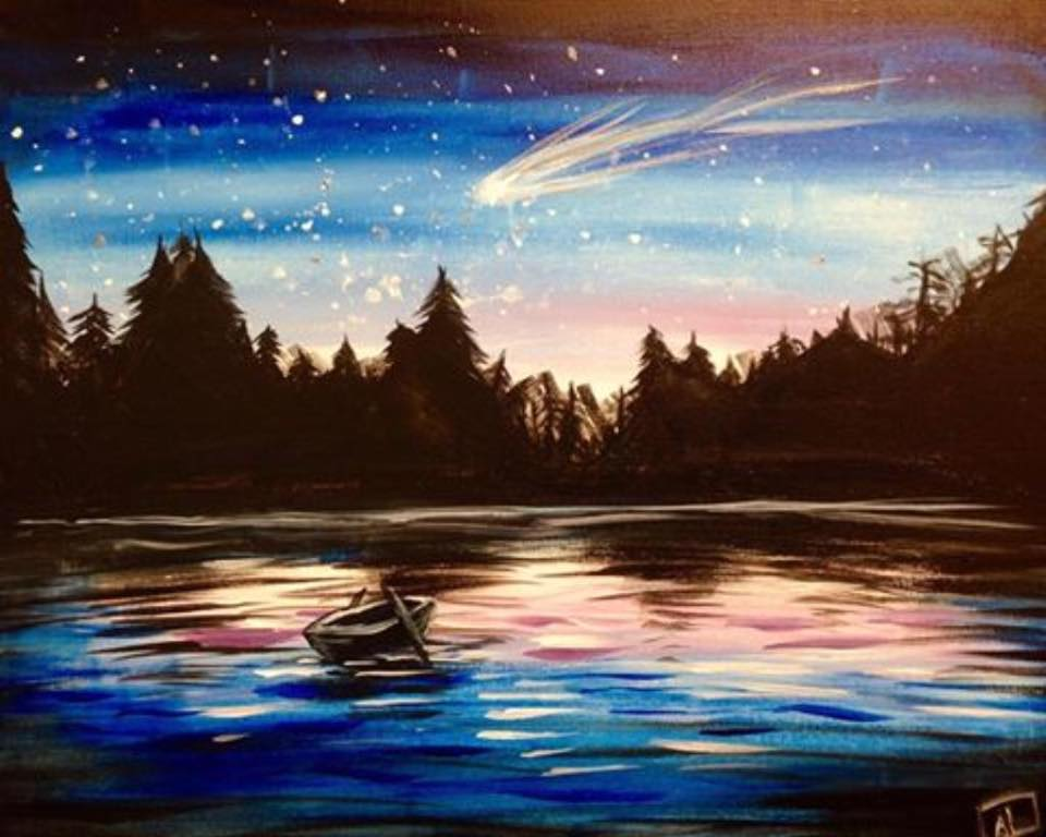 night on lake painting