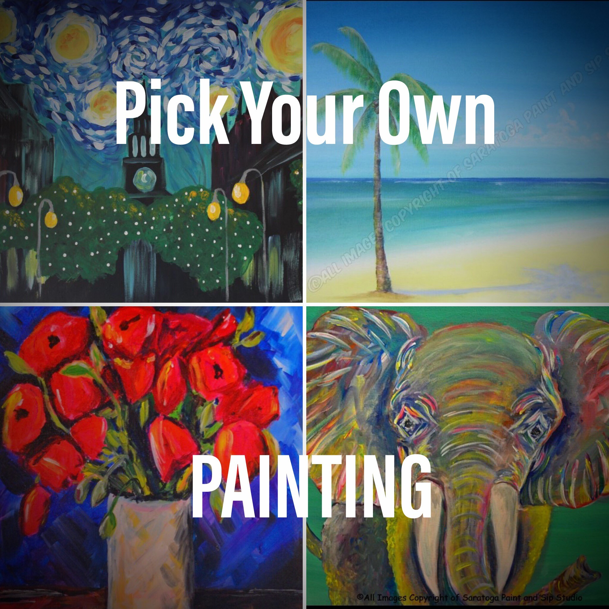 sky, beach, flower, and elephant paintings